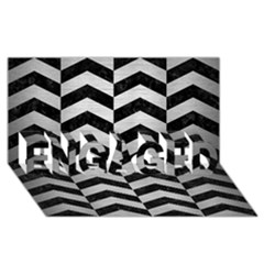 Chevron2 Black Marble & Silver Brushed Metal Engaged 3d Greeting Card (8x4)