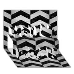 Chevron2 Black Marble & Silver Brushed Metal You Rock 3d Greeting Card (7x5) by trendistuff