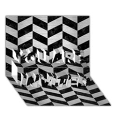 Chevron1 Black Marble & Silver Brushed Metal You Are Invited 3d Greeting Card (7x5) by trendistuff