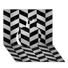 Chevron1 Black Marble & Silver Brushed Metal Apple 3d Greeting Card (7x5)