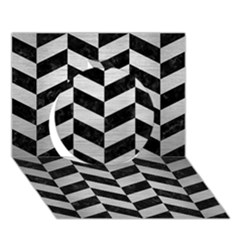 Chevron1 Black Marble & Silver Brushed Metal Circle 3d Greeting Card (7x5) by trendistuff