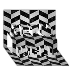Chevron1 Black Marble & Silver Brushed Metal Get Well 3d Greeting Card (7x5)
