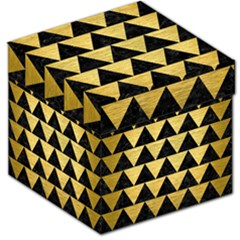Triangle2 Black Marble & Gold Brushed Metal Storage Stool 12  by trendistuff