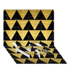Triangle2 Black Marble & Gold Brushed Metal Love Bottom 3d Greeting Card (7x5) by trendistuff