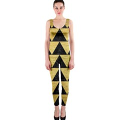 Triangle2 Black Marble & Gold Brushed Metal Onepiece Catsuit by trendistuff