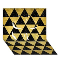 Triangle3 Black Marble & Gold Brushed Metal Clover 3d Greeting Card (7x5)