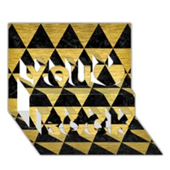 Triangle3 Black Marble & Gold Brushed Metal You Rock 3d Greeting Card (7x5) by trendistuff
