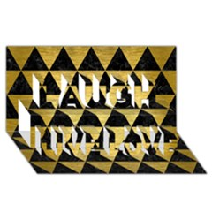 Triangle3 Black Marble & Gold Brushed Metal Laugh Live Love 3d Greeting Card (8x4)