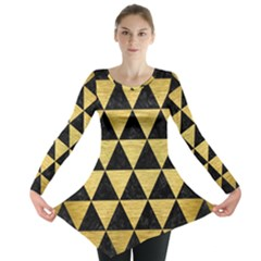 Triangle3 Black Marble & Gold Brushed Metal Long Sleeve Tunic
