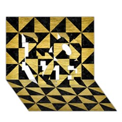 Triangle1 Black Marble & Gold Brushed Metal Love 3d Greeting Card (7x5) by trendistuff