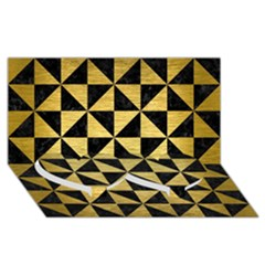 Triangle1 Black Marble & Gold Brushed Metal Twin Heart Bottom 3d Greeting Card (8x4)