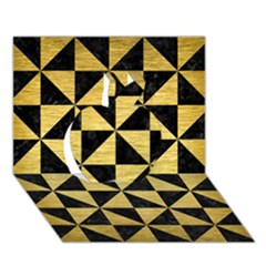 Triangle1 Black Marble & Gold Brushed Metal Apple 3d Greeting Card (7x5) by trendistuff