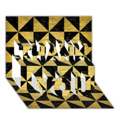Triangle1 Black Marble & Gold Brushed Metal Thank You 3d Greeting Card (7x5) by trendistuff