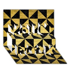 Triangle1 Black Marble & Gold Brushed Metal You Rock 3d Greeting Card (7x5) by trendistuff