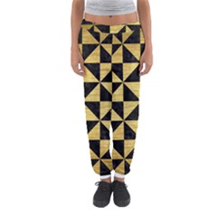 Triangle1 Black Marble & Gold Brushed Metal Women s Jogger Sweatpants