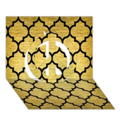 Tile1 Black Marble & Gold Brushed Metal (r) Peace Sign 3d Greeting Card (7x5)