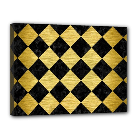 Square2 Black Marble & Gold Brushed Metal Canvas 16  X 12  (stretched) by trendistuff