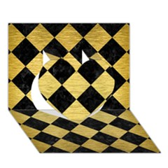 Square2 Black Marble & Gold Brushed Metal Heart 3d Greeting Card (7x5) by trendistuff