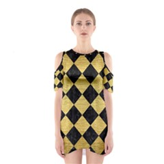 Square2 Black Marble & Gold Brushed Metal Shoulder Cutout One Piece by trendistuff