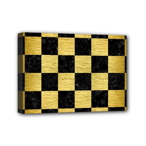 Square1 Black Marble & Gold Brushed Metal Mini Canvas 7  X 5  (stretched) by trendistuff