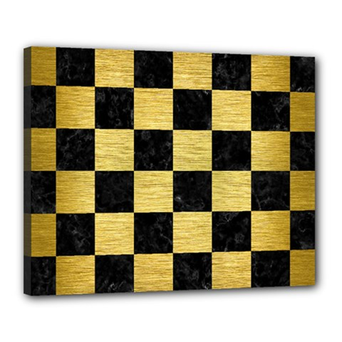 Square1 Black Marble & Gold Brushed Metal Canvas 20  X 16  (stretched) by trendistuff