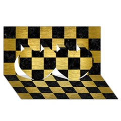 Square1 Black Marble & Gold Brushed Metal Twin Hearts 3d Greeting Card (8x4)