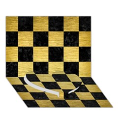 Square1 Black Marble & Gold Brushed Metal Heart Bottom 3d Greeting Card (7x5) by trendistuff