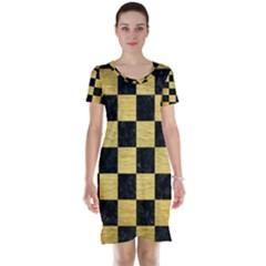 Square1 Black Marble & Gold Brushed Metal Short Sleeve Nightdress by trendistuff
