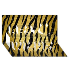 Skin3 Black Marble & Gold Brushed Metal (r) Best Wish 3d Greeting Card (8x4)