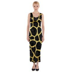 SKN1 BK MARBLE GOLD (R) Fitted Maxi Dress by trendistuff
