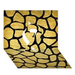 Skin1 Black Marble & Gold Brushed Metal Ribbon 3d Greeting Card (7x5)