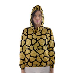 Skin1 Black Marble & Gold Brushed Metal Hooded Wind Breaker (women) by trendistuff