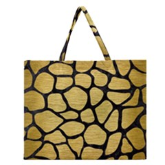 SKN1 BK MARBLE GOLD Zipper Large Tote Bag