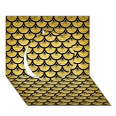 Scales3 Black Marble & Gold Brushed Metal (r) Circle 3d Greeting Card (7x5) by trendistuff