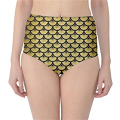 SCA3 BK MARBLE GOLD (R) High-Waist Bikini Bottoms by trendistuff