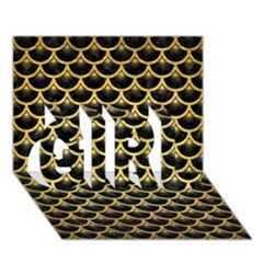 Scales3 Black Marble & Gold Brushed Metal Girl 3d Greeting Card (7x5) by trendistuff