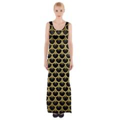 SCA3 BK MARBLE GOLD Maxi Thigh Split Dress