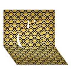 Scales2 Black Marble & Gold Brushed Metal (r) Apple 3d Greeting Card (7x5)