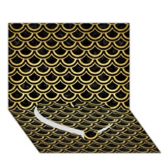 Scales2 Black Marble & Gold Brushed Metal Heart Bottom 3d Greeting Card (7x5) by trendistuff