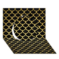 Scales1 Black Marble & Gold Brushed Metal Circle 3d Greeting Card (7x5)