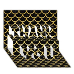 Scales1 Black Marble & Gold Brushed Metal Thank You 3d Greeting Card (7x5) by trendistuff