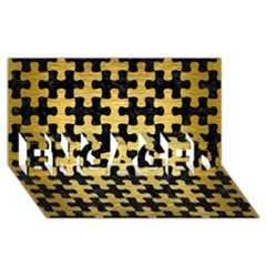 Puzzle1 Black Marble & Gold Brushed Metal Engaged 3d Greeting Card (8x4)