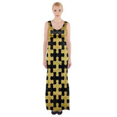 Puzzle1 Black Marble & Gold Brushed Metal Maxi Thigh Split Dress by trendistuff