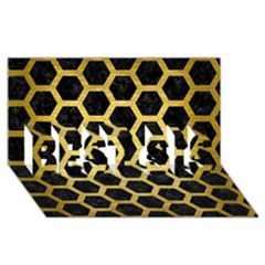 Hexagon2 Black Marble & Gold Brushed Metal Best Sis 3d Greeting Card (8x4)