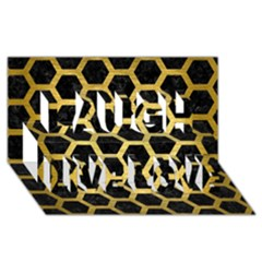 Hexagon2 Black Marble & Gold Brushed Metal Laugh Live Love 3d Greeting Card (8x4) by trendistuff
