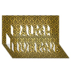 Hexagon1 Black Marble & Gold Brushed Metal (r) Laugh Live Love 3d Greeting Card (8x4)