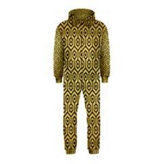Hexagon1 Black Marble & Gold Brushed Metal (r) Hooded Jumpsuit (kids) by trendistuff