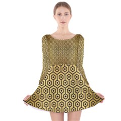 HXG1 BK MARBLE GOLD (R) Long Sleeve Velvet Skater Dress by trendistuff