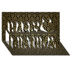 Hexagon1 Black Marble & Gold Brushed Metal Happy Birthday 3d Greeting Card (8x4)