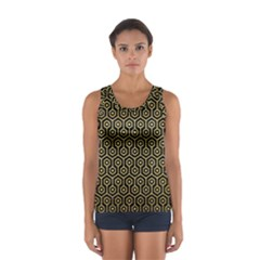 Hexagon1 Black Marble & Gold Brushed Metal Sport Tank Top
